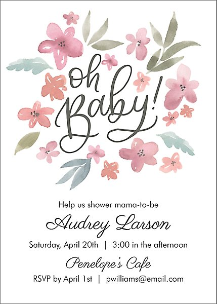 Watercolor Floral Baby Shower Invitation Paper Source