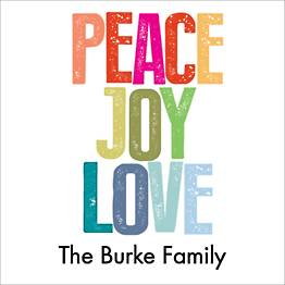 Peace Joy Love Brights Holiday Gift Tag Label