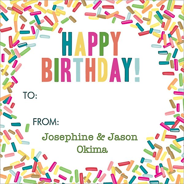 Sprinkles Happy Birthday Gift Tag Label Paper Source