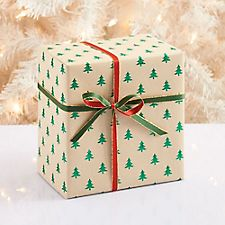 Green Glitter Tree Wrapping Paper