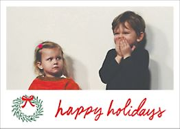 Merry Christmas Wreath Holiday Photo Card