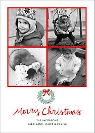 Merry Christmas Wreath Multi Photo Card