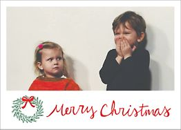 Merry Christmas Wreath Horizontal Photo Card