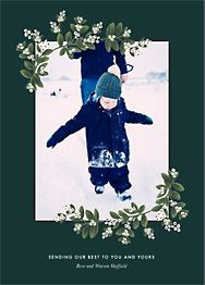Mistletoe Accent Flourish Vertical Photo Card