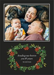 Poinsettia Garland Photo Holiday Photo Card