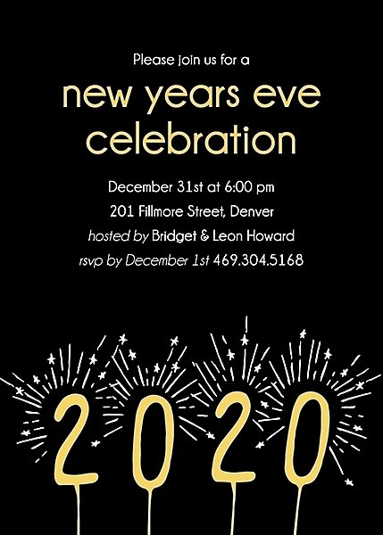 New Year Sparklers Party Invitation