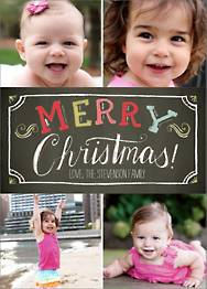 Colorful Chalk Merry Christmas Multi-Photo Card
