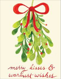 Watercolor Mistletoe Holiday Card