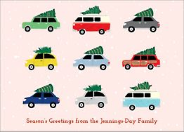 Cars with Trees Holiday Card
