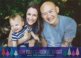 Colorful Trees Holiday Photo Card Horizontalorizontal