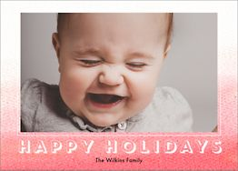 Coral Ombre Holiday Photo Card