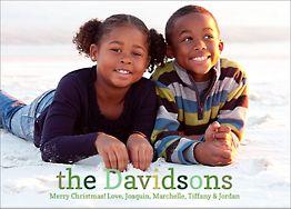 Green Multi Text Holiday Photo Card Horizontal