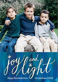 Joy and Light Hanukkah Holiday Photo Card