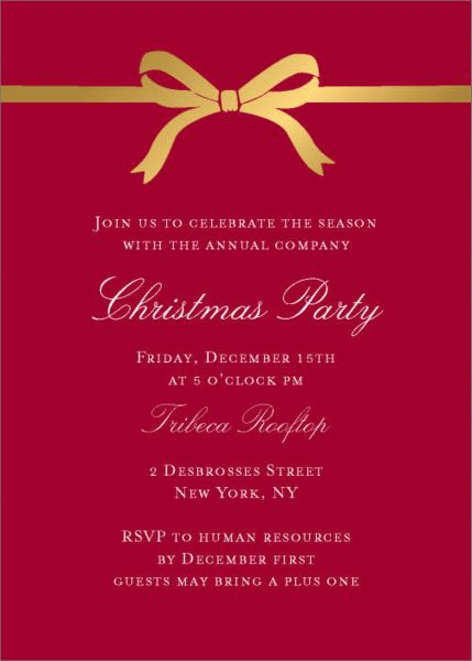 Bow Holiday Invitation