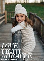 Love Light Miracle Holiday Photo Card