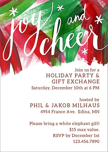 Joy And Cheer Holiday Party Invitation