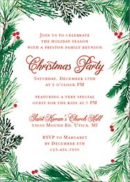 Pine Wreath Holiday Party Invitation
