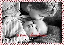 Candy Stripe Christmas Horizontal Photo Card