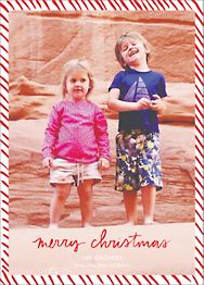 Candy Stripe Christmas Vertical Photo Card
