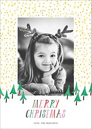 Glittery Tree in the Forest Photo Card