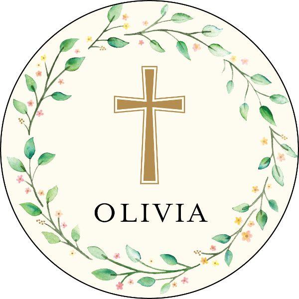 Wreath Cross Personalized Stickers