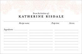 Blush Floral Custom Recipe Card