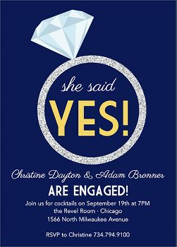 Glitter Ring Engagement Party Invitation