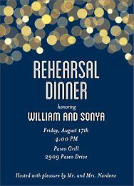Bokeh Lights Rehearsal Dinner Invitation