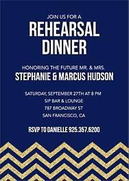 Gold Glitter Chevron Rehearsal Dinner Invitation