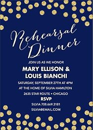 Gold Glitter Confetti Rehearsal Dinner Invitation