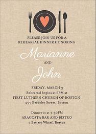 Heart Setting Rehearsal Dinner Invitation