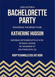 Gold Glitter Chevron Bachelorette Party Invitation