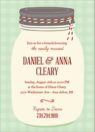 Mason Jar Plaid Brunch Invitation