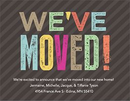 Colored Press Type Moving Announcement