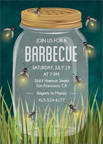 Firefly Jar Party Invitation
