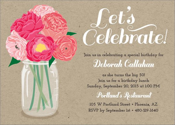 Peony Party Invitation