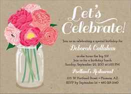 Peony Party Invitation