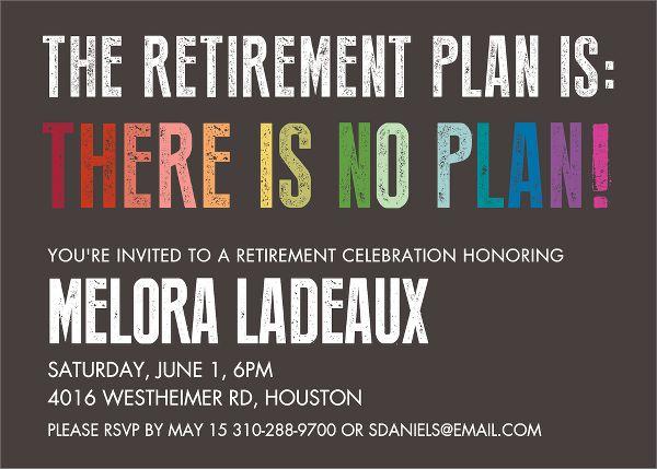 Retirement Plan Party Invitation