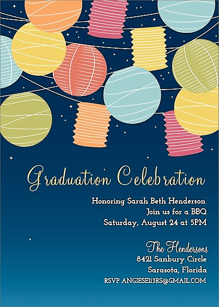 Lanterns Graduation Party Invitation
