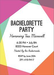 Colorblock Bachelorette Party Invitation
