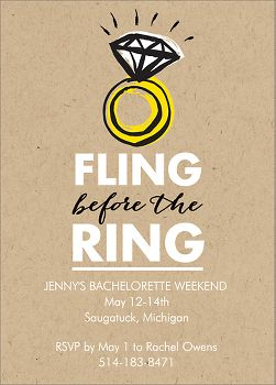 Fling Ring Bachelorette Party Invitation