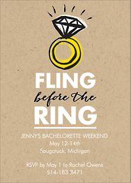 Fling Ring Bachelorette Party Invitation