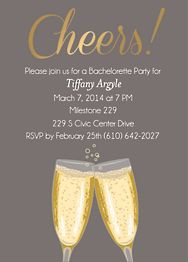 Gold Foil Stamped Script Cheers Glasses Bachelorette Party Invitation