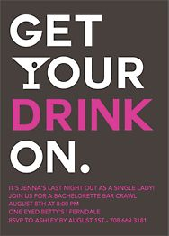 Get Your Drink Bachelorette Party Invitation