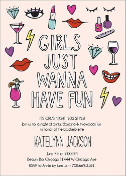 Girls Wanna Bachelorette Party Invitation