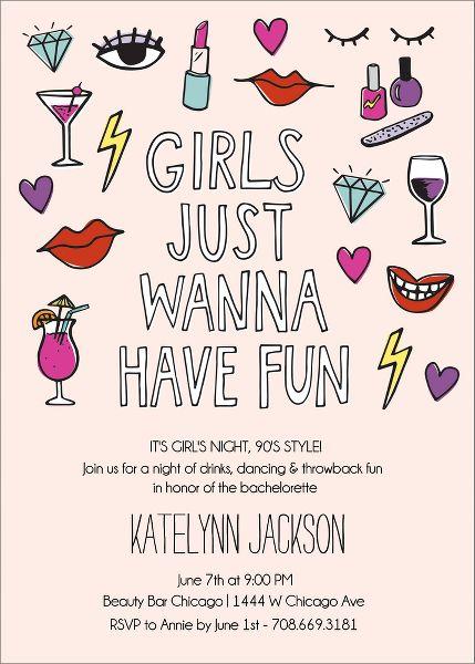 Girls Wanna Bachelorette Party Invitation