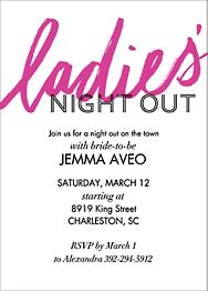 Ladies' Night Out Bachelorette Party Invitation
