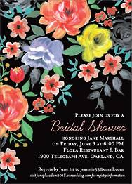Painted Flowers Bridal Shower Invitation