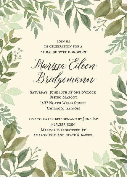 Watercolor Garden Bridal Shower Invitation