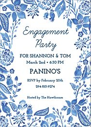 Blue Floral Engagement Party Invitation
